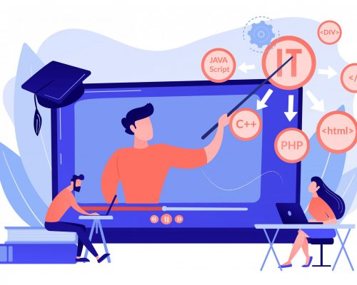 Teaching students online. Internet learning. Computer programming. Online IT courses, best online IT training, online certification courses concept. Pink coral blue vector isolated illustration